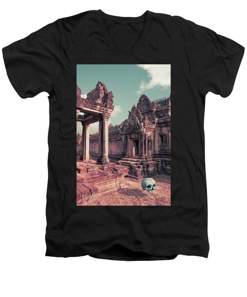 Men's V-Neck T-Shirt featuring the photograph Cambodian Blue by Joseph Westrupp