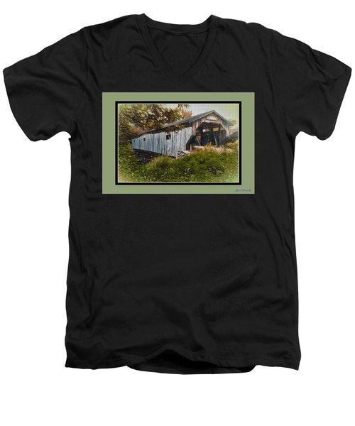Men's V-Neck T-Shirt featuring the digital art Cambridge Jct. Bridge by John Selmer Sr