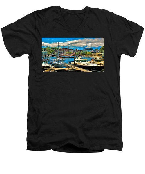 Camden Harbor Men's V-Neck T-Shirt