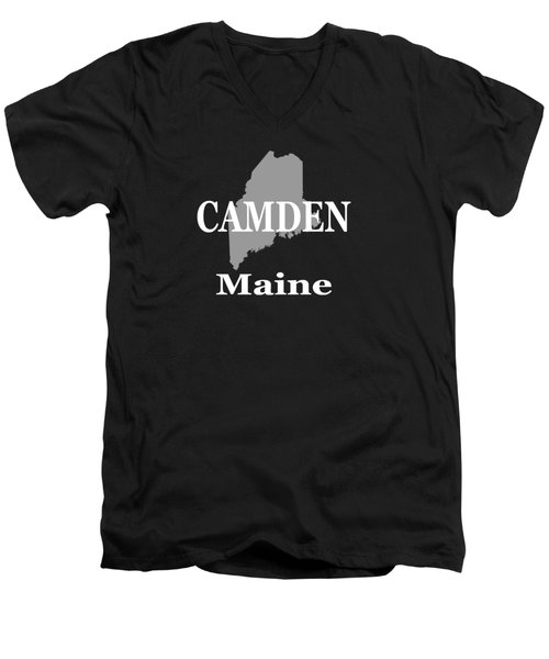 Men's V-Neck T-Shirt featuring the photograph Camden Maine State City And Town Pride  by Keith Webber Jr