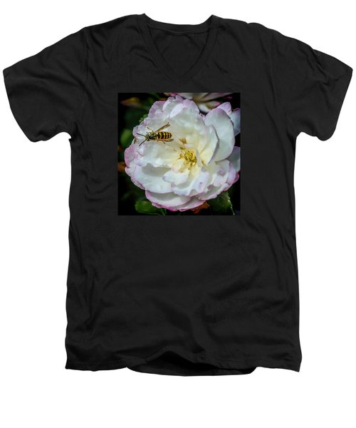 Men's V-Neck T-Shirt featuring the photograph Camelia With Company by Susi Stroud