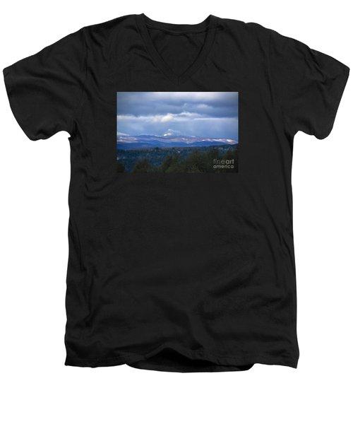 Camel's Hump Mountain  Men's V-Neck T-Shirt by Diane Diederich