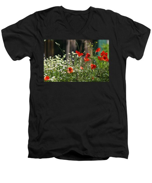 Camille And Poppies Men's V-Neck T-Shirt by Rainer Kersten