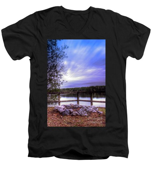 Men's V-Neck T-Shirt featuring the photograph Camp Ground by Maddalena McDonald