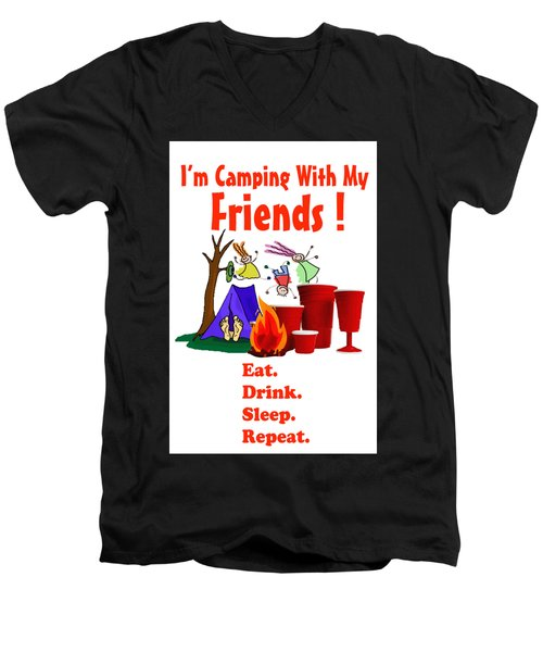 Camping T Shirt Men's V-Neck T-Shirt