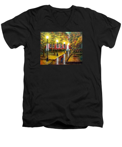 Men's V-Neck T-Shirt featuring the painting Campus Rain by Chris Fraser