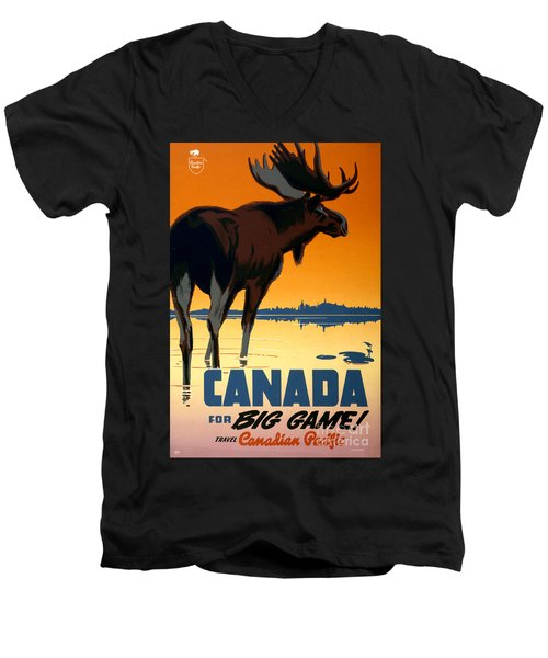Canada Big Game Vintage Travel Poster Restored Men's V-Neck T-Shirt