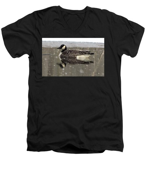 Canadian Goose In Michigan Men's V-Neck T-Shirt