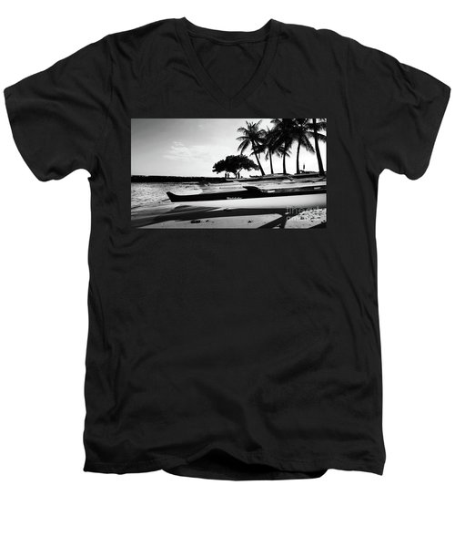 Men's V-Neck T-Shirt featuring the photograph Canoes by Kristine Merc