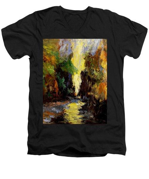 Canyon Creek Men's V-Neck T-Shirt by Gail Kirtz
