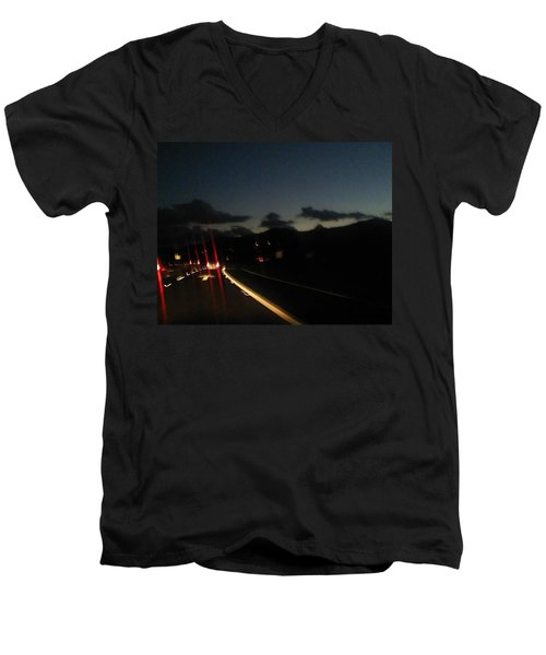 Canyon Road Winter Men's V-Neck T-Shirt by Dan Twyman