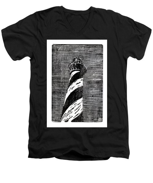 Men's V-Neck T-Shirt featuring the painting Cape Hatteras Lighthouse II by Ryan Fox