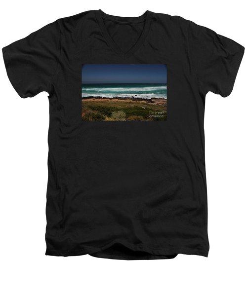 Capetown Penisula Beach Men's V-Neck T-Shirt by Bev Conover