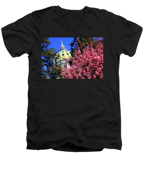 Capitol In Bloom Men's V-Neck T-Shirt