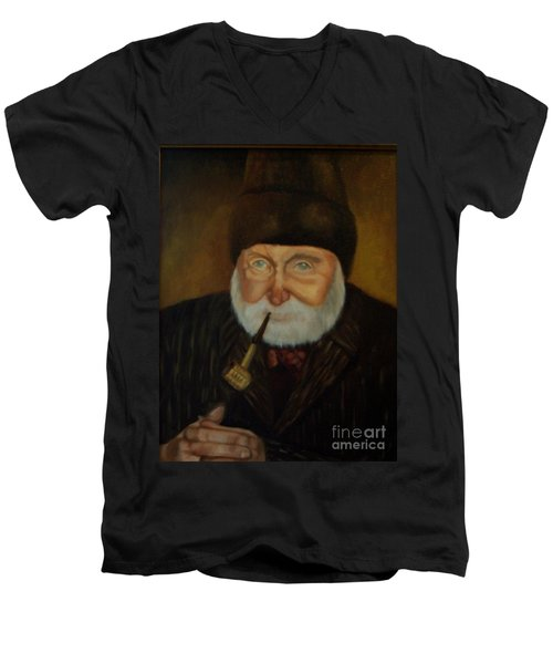 Men's V-Neck T-Shirt featuring the painting Cap'n Danny by Marlene Book