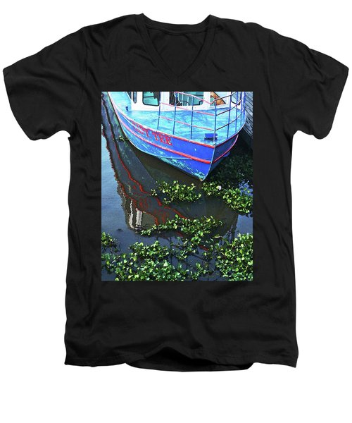 Cap'n Tee Henderson Swamp Men's V-Neck T-Shirt by Lizi Beard-Ward