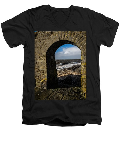 Cappagh Pier And Ireland's Shannon Estuary Men's V-Neck T-Shirt