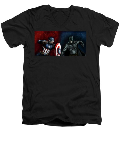 Captain America Vs Batman Men's V-Neck T-Shirt