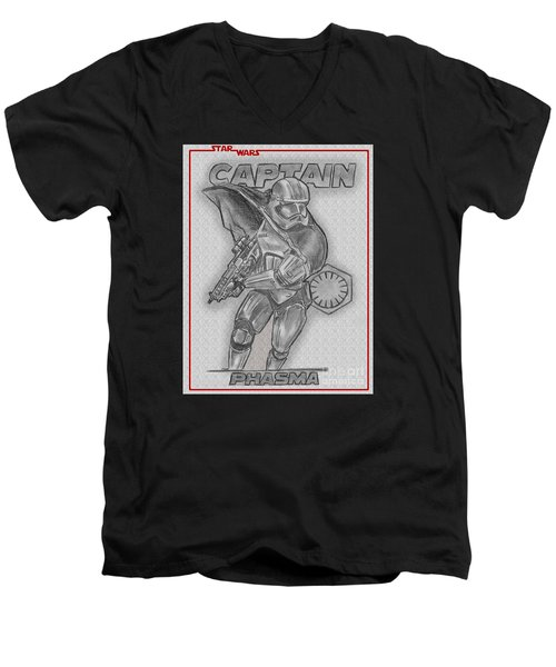 Men's V-Neck T-Shirt featuring the drawing Captain Phasma Of The First Order by Chris DelVecchio