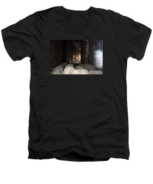 Captured Ghost At Colosseum Rome Men's V-Neck T-Shirt by Richard Ortolano