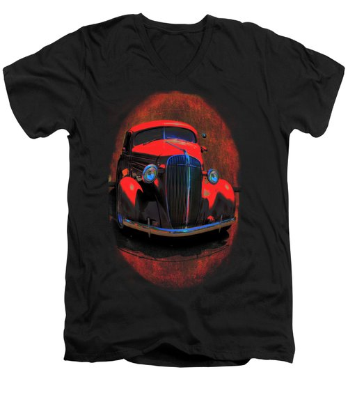 Car Art 0443 Red Oval Men's V-Neck T-Shirt