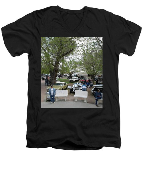 Men's V-Neck T-Shirt featuring the photograph Car Show In Deming N M by Jack Pumphrey