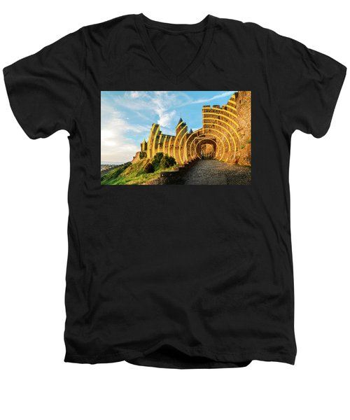Carcassonne's Citadel, France Men's V-Neck T-Shirt