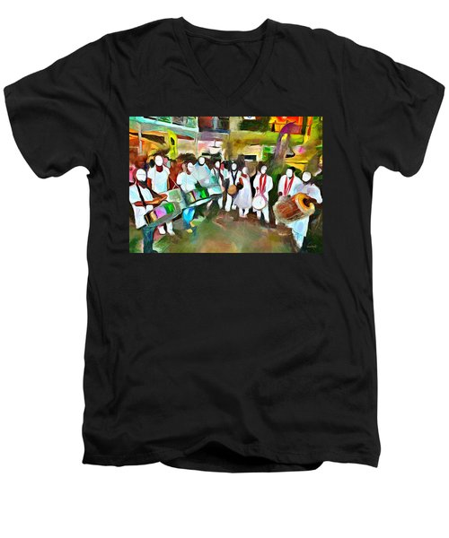 Caribbean Scenes - Pan And Tassa Men's V-Neck T-Shirt by Wayne Pascall