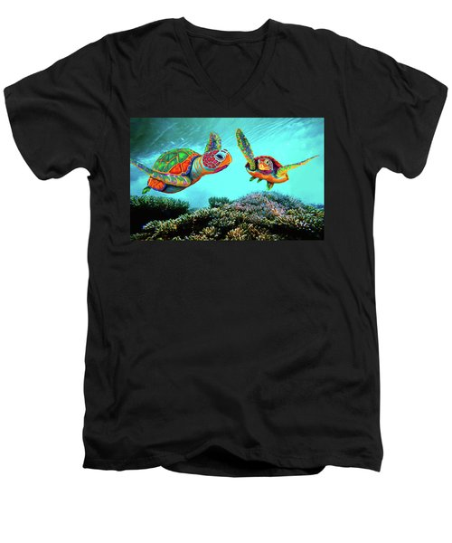 Caribbean Sea Turtles Men's V-Neck T-Shirt