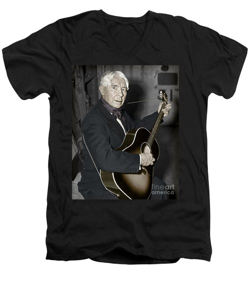 Men's V-Neck T-Shirt featuring the photograph Carl Sandburg With Guitar by Martin Konopacki Restoration