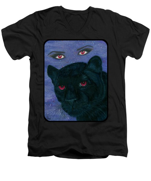 Carmilla - Black Panther Vampire Men's V-Neck T-Shirt by Carrie Hawks