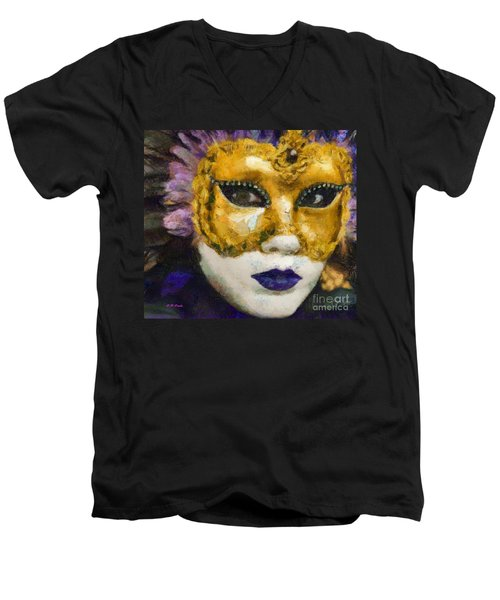 Men's V-Neck T-Shirt featuring the painting Carnival Of Venice by Elizabeth Coats