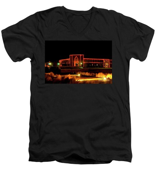 Men's V-Neck T-Shirt featuring the photograph Carol Of Lights At Science Building by Mae Wertz
