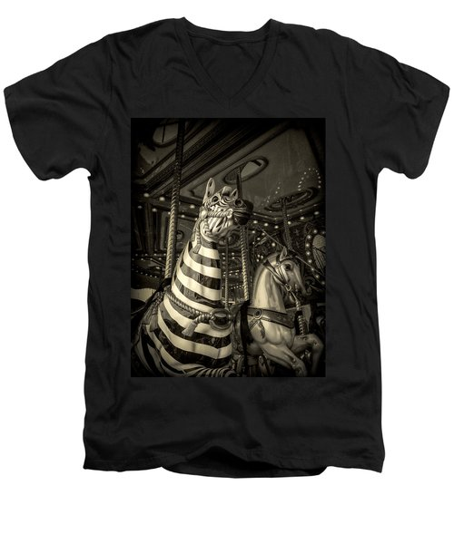 Men's V-Neck T-Shirt featuring the photograph Carousel Zebra by Caitlyn Grasso