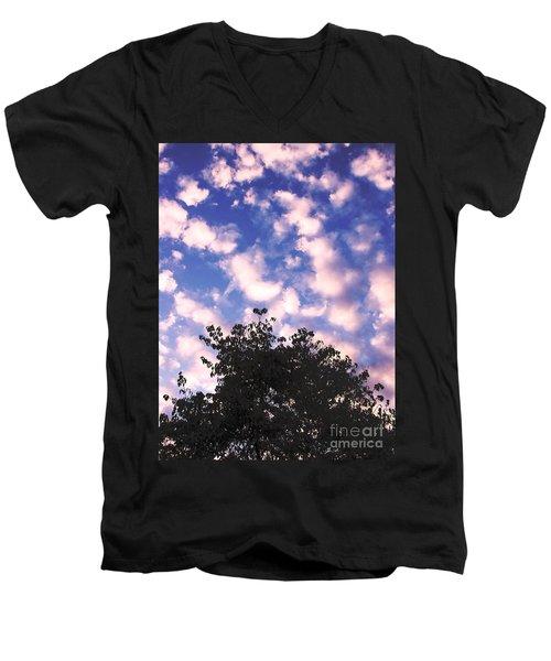 Cartoon Clouds Men's V-Neck T-Shirt by Melissa Stoudt