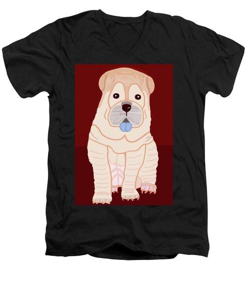 Cartoon Shar Pei Men's V-Neck T-Shirt by Marian Cates