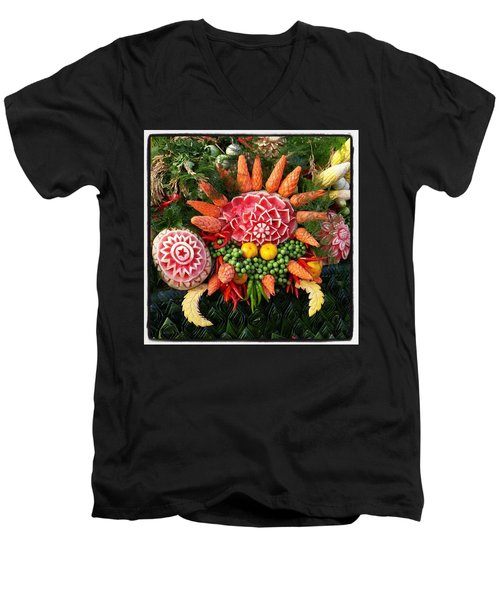 Men's V-Neck T-Shirt featuring the photograph Carved Watermelon, And I Think Those by Mr Photojimsf