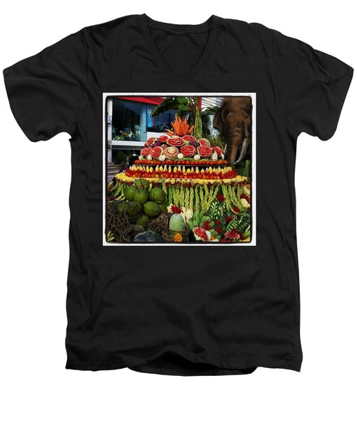Men's V-Neck T-Shirt featuring the photograph Carved Watermelon, Surin Elephant by Mr Photojimsf