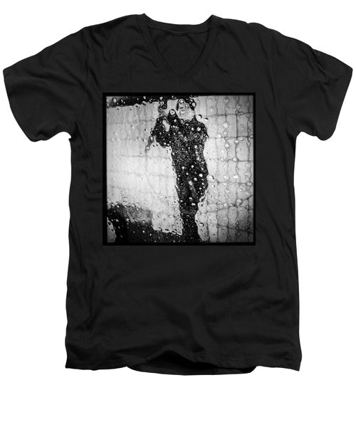 Carwash Cool Black And White Abstract Men's V-Neck T-Shirt by Matthias Hauser