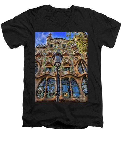 Casa Batllo Gaudi Men's V-Neck T-Shirt by Henry Kowalski