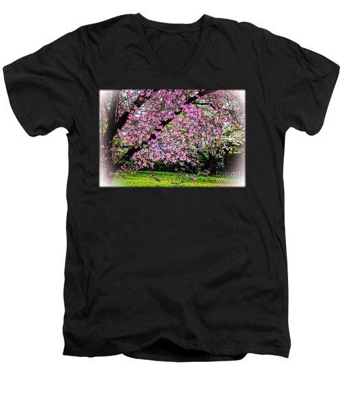 Cascading Dogwood Copyright Mary Lee Parker 17, Men's V-Neck T-Shirt by MaryLee Parker