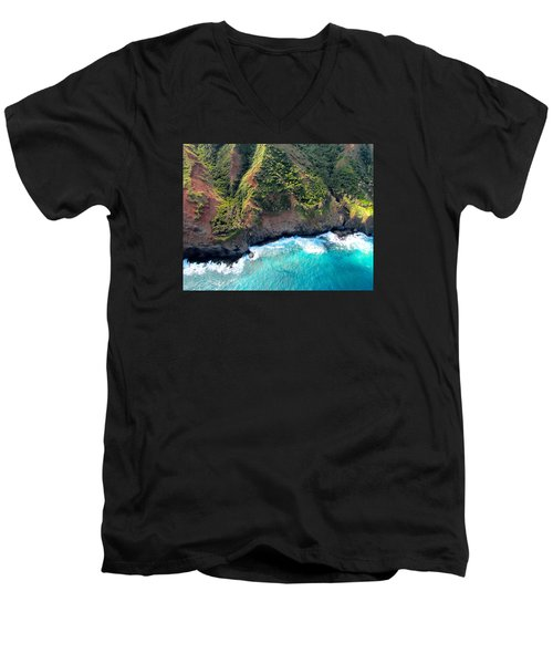 Men's V-Neck T-Shirt featuring the photograph Cascading To The Sea by Brenda Pressnall