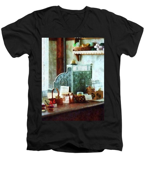 Men's V-Neck T-Shirt featuring the photograph Cash Register In General Store by Susan Savad