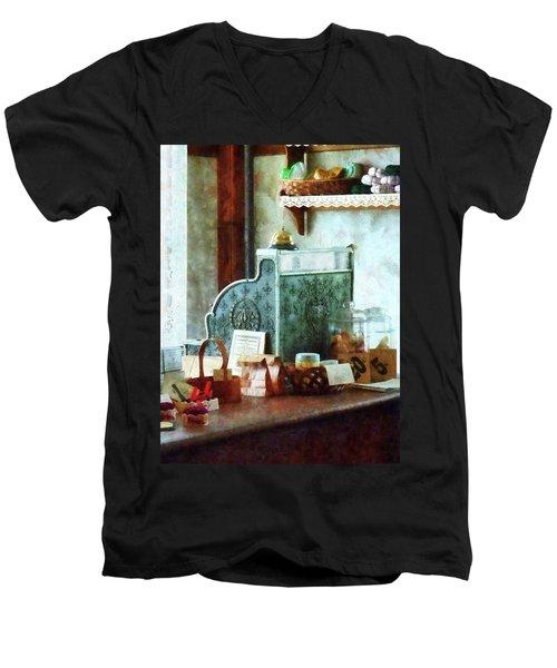 Cash Register In General Store Men's V-Neck T-Shirt by Susan Savad