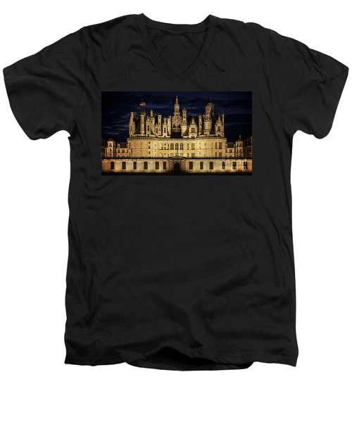 Men's V-Neck T-Shirt featuring the photograph Castle Chambord Illuminated by Heiko Koehrer-Wagner