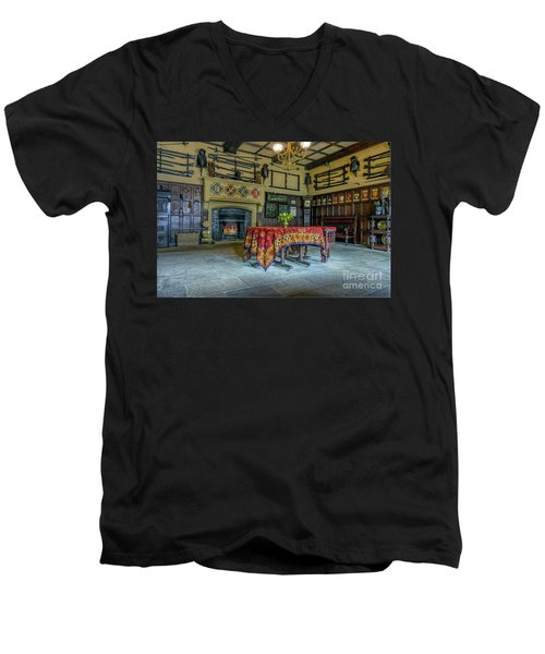 Men's V-Neck T-Shirt featuring the photograph Castle Dining Room by Ian Mitchell