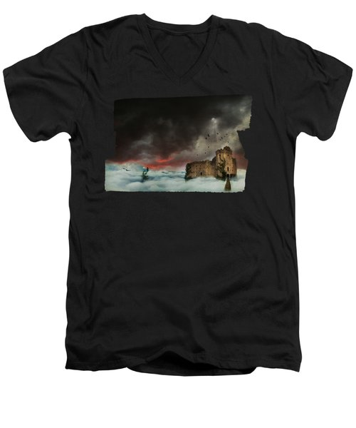 Castle In The Clouds Men's V-Neck T-Shirt by Terry Fleckney