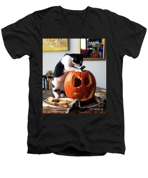 Cat And Pumpkin Men's V-Neck T-Shirt by Vicky Tarcau