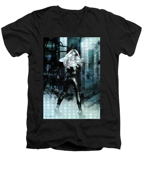 Cat Girl Comic Like Pinup Men's V-Neck T-Shirt