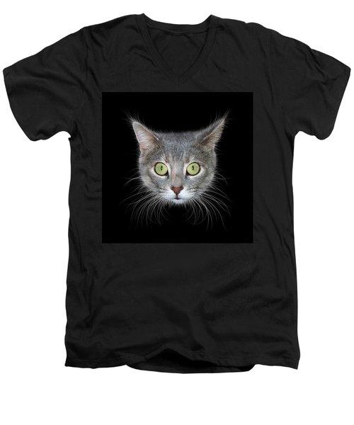 Cat Head On Black Background Men's V-Neck T-Shirt by James Larkin